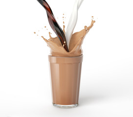 Coffee and milk pouring into a glass with splash.