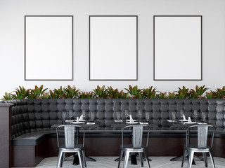 Mock up posters in modern restaurant interior, 3d render