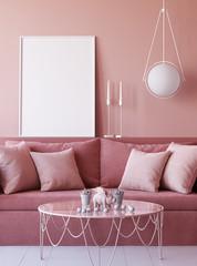 Mock up poster frame in living room interior background, 3d render