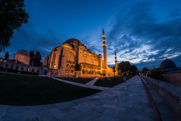 Famous mosque in Istanbul at night.
