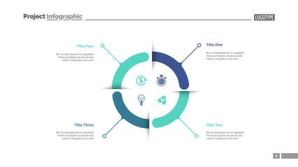 Four aspects circle diagram slide template. Business data. Graph, diagram. Creative concept for infographic, templates, presentation, report. Can be used for topics like research, banking, training Fotomurales