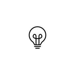 bulb lamp icon logo vector line outline monoline illustration