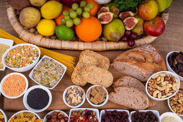 High Fibre Food,  Variety of High Fibre healthy Superfoods fruit and foods.