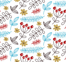 Cute doodle floral seamless vector pattern
