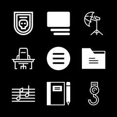 empty icons set with two music notes, badge and hook vector set