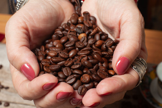 Women's hands  hold a handful of coffee beans