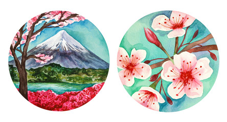 Illustration of watercolor hand drawn landscapes with pink flowers.Branches of cherry, peach, sakura, pear and apple blossom. Fuji background. Mountain, View, Landscape, Japanese, Asian, Nature, Wood.