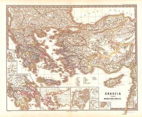1865, Spruner Map of Greece during the Dorian Migrations