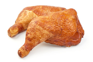 Smoked chicken legs, closeup, isolated on a white background