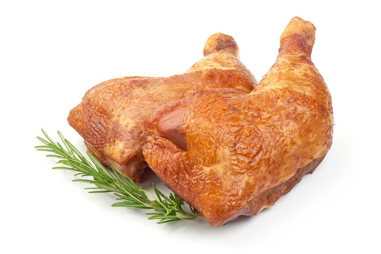Tasty Smoked Chicken Legs with Rosemary, closeup, isolated on a white background