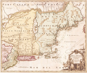 Fotomurales - 1716, Homann Map of New England Nova Anglia