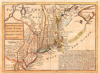Fototapete - 1729, Moll Map of New York, New England, and Pennsylvania, First Postal Map of New England