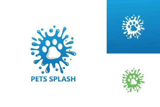 Pets Splash Logo Template Design Vector, Emblem, Design Concept, Creative Symbol, Icon