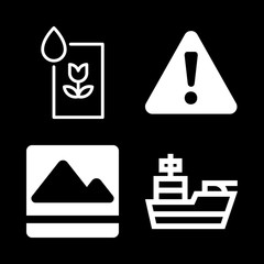 4 hill icons with image of mountains and cruiser in this set
