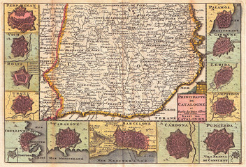 1747, La Feuille Map of Catalonia, Spain, Barcelona