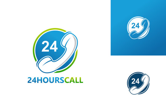 24 Hours Phone Call Logo Template Design Vector, Emblem, Design Concept, Creative Symbol, Icon