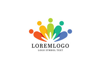 Logo Layout with Colorful Social People Symbols