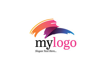 Logo Layout with Colorful Brush Stroke Elements