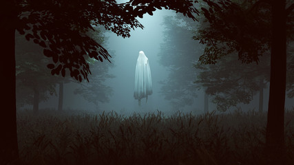 Floating Evil Spirit in a Wooded Clearing with a Beam of Light 3d illustration 3d render