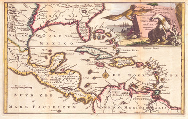 1747, Ruyter Map of Florida, Mexico and the West Indies