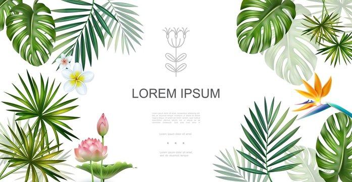 Realistic Tropical Plants Floral Concept