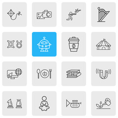 Vector illustration of 16 lifestyle icons line style. Editable set of healthy food, gardening, coffee and other icon elements.