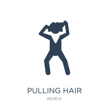 pulling hair icon vector on white background, pulling hair trend