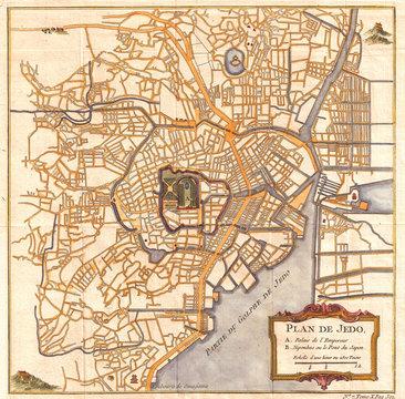 1752, Schely Plan or Map of Edo or Tokyo, Japan