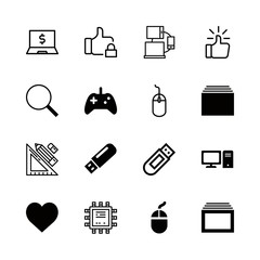 16 pc icons with mouse and games control in this set