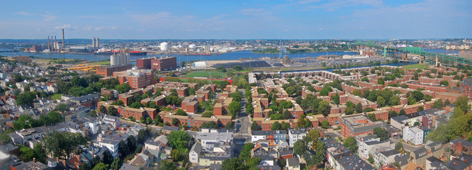 Charlestown and Mystic River panorama aerial view, from the top of Bunker Hill Monument, Boston, Massachusetts, USA.