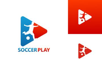 Soccer Video Play Logo Template Design Vector, Emblem, Design Concept, Creative Symbol, Icon