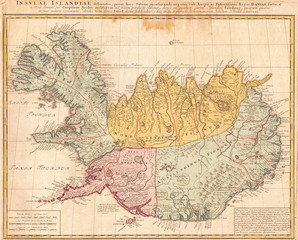 Wall Mural - 1761, Homann Heirs Map of Iceland Insulae Islandiae