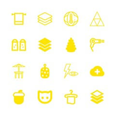 16 dry icons with hair dryer and cat face outline in this set