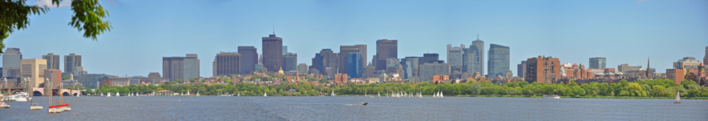 Boston Financial District Skyscrapers panorama, from Charles River at Cambridge, Boston, Massachusetts, USA.