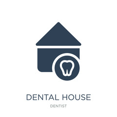 dental house icon vector on white background, dental house trend
