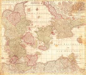 1770, Lotter Map of Denmark Daniae Regnum