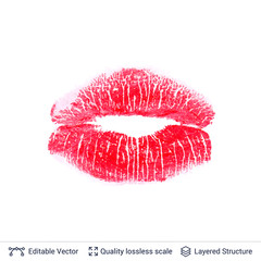 Red lips print isolated on white background.