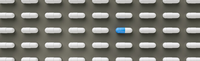 blue and white pills or capsules lies in a two rows, Pharmacy theme, banner size