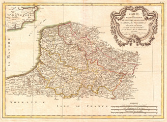 1771, Bonne Map of Picardy, Artois and French Flanders, France, Rigobert Bonne 1727 – 1794, one of the most important cartographers of the late 18th century