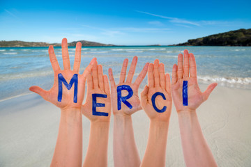 Many Hands Building Merci Means Thank You, Beach And Ocean
