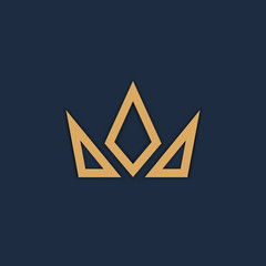 Crown logo on dark background. Vector