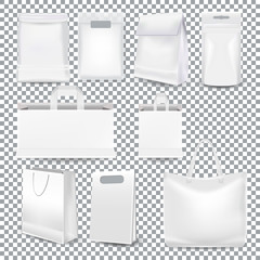 Set of realistic template white shopping bags with a handle and packaging made from white paper, plastic and canvas isolated on a transparent background. Mockup gift bag in Vector