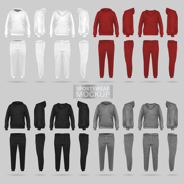 Mockup of the sportswear hoodie and trousers in four dimensions: front, side and back view, realistic gradient mesh vector. Clothes for sport and urban style. Black, red, gray, white