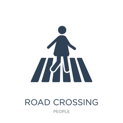 road crossing icon vector on white background, road crossing tre