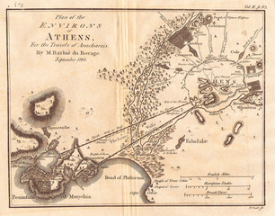 1785, Bocage Map of Athens and Environs, including Piraeus, in Ancient Greece