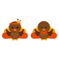 cartoon cute turkey girl and boy with tie