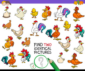 find two identical chicken pictures game for kids