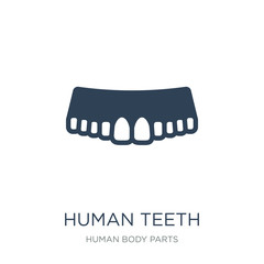 human teeth icon vector on white background, human teeth trendy