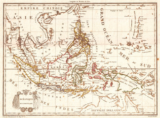 Fototapete - Old Map of the East Indies, Singapore, Southeast Asia, Sumatra, Borneo, Java, 1810, Tardieu