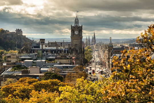 Edinburgh, view from Calton Hill - Princes Street